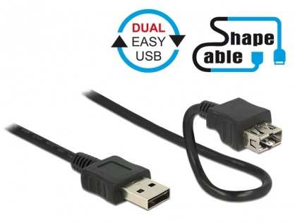 Cablu EASY-USB 2.0-A T-M Shape Cable 2m Negru, Delock 83665