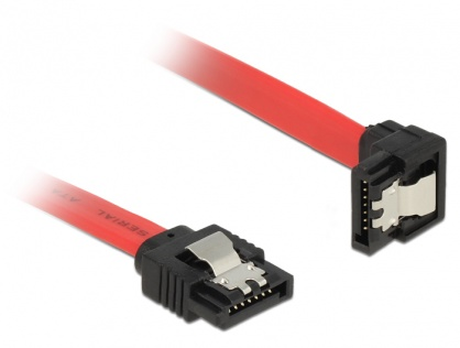 Cablu SATA III 6 Gb/s drept/jos cu fixare rosu 20cm, Delock 83977