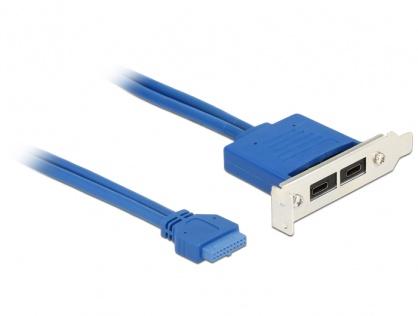 Bracket USB 3.1 pin header 19 pini mama la 2 x USB-C Low Profile, Delock 84929
