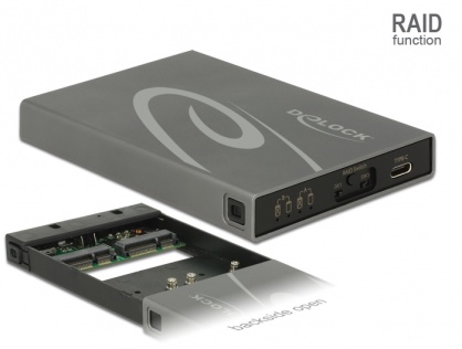 Rack extern 2 x mSATA SSD la USB 3.1 Gen 2 USB-C cu RAID, Delock 42590