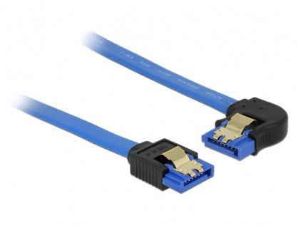 Cablu SATA III 6 Gb/s unghi drept-stanga Bleu 20cm, Delock 84983