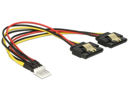 Cablu de alimentare Floppy 4 pini la 2 x SATA 15 pini T-M 20cm, Delock 85236