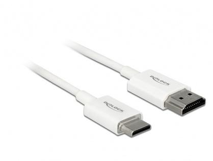 Cablu HDMI la mini HDMI-C T-T 3D 4K 1.5m Slim Premium Alb, Delock 85143