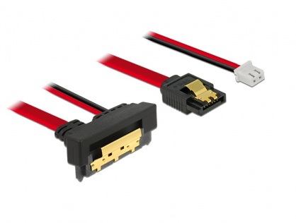 Cablu de date + alimentare SATA 22 pini 5V 6 Gb/s cu clips la Alimentare 2 pini + SATA 7 pini unghi jos/drept 30cm, Delock 85243