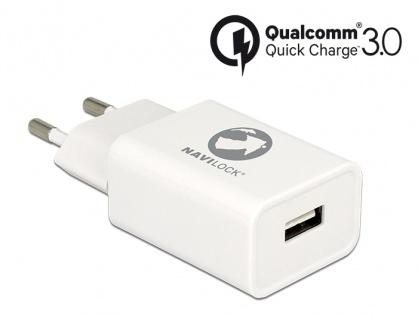 Incarcator priza cu 1 x USB Qualcomm Quick/Fast Charge 3.0 (incarcare rapida) Alb, Navilock 62969