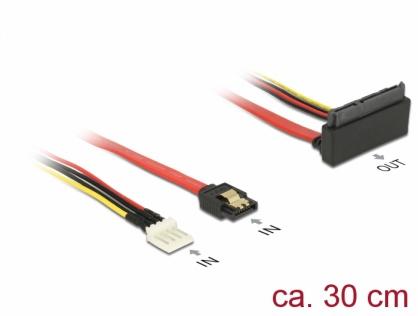 Cablu SATA III 6 Gb/s + alimentare Floppy 4 pini la SATA 22 pini unghi sus 30cm, Delock 85518