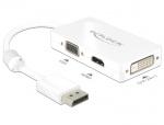 Adaptor Displayport la VGA / HDMI / DVI pasiv T-M Alb, Delock 62655