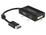 Adaptor Displayport la VGA / HDMI / DVI pasiv T-M Negru, Delock 62656
