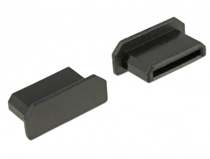 Protectie impotriva prafului pentru conector mini HDMI-C Negru set 10 buc, Delock 64028