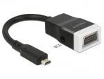 Adaptor micro HDMI-D la VGA cu Audio Negru T-M 15cm, Delock 65589