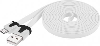 Cablu date si incarcare USB la micro USB-B Flat Alb 2m, Goobay W67559