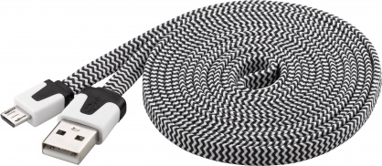 Cablu date si incarcare USB la micro USB-B Flat Alb/Negru 2m, Goobay W68794