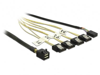 Cablu Mini SAS HD SFF-8643 la 4 x SATA 7 pini Reverse + Sideband 1m, Delock 83322