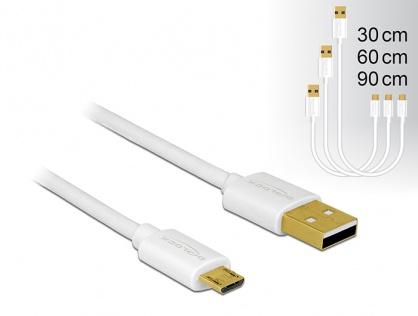 Cablu de date si incarcare Quick/Fast Charging (incarcare rapida) USB 2.0 la micro USB-B 3 buc/set Alb, Delock 83679
