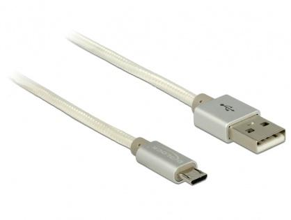 Cablu de incarcare + date micro USB-B la USB 2.0 T-T Alb 0.5m, Delock 83915