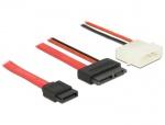 Cablu Slim SATA la SATA 7 pini + 2 pini alimentare M-T 100cm, Delock 84792