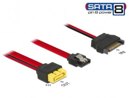Cablu SATA 6 Gb/s 7 pini + SATA 15 pini la conector de alimentare 8 pini 0.3m, Delock 84945