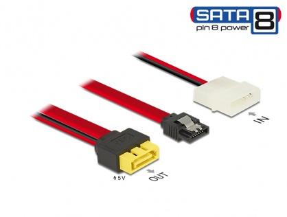 Cablu SATA 6 Gb/s 7 pini + Molex 2 pini alimentare la SATA de alimentare 8 pini, Delock 84947