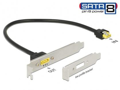 Slot bracket SATA 6 Gb/s receptacle la SATA de alimentare 8 pini 0.3m, Delock 84952