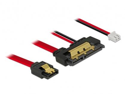 Cablu de date + alimentare SATA 22 pini 5V 6 Gb/s cu clips la Alimentare 2 pini + SATA 7 pini 10cm, Delock 85238