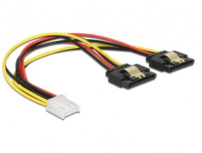 Cablu de alimentare Floppy 4 pini la 2 x SATA 15 pini cu clips M-M 20cm, Delock 85248