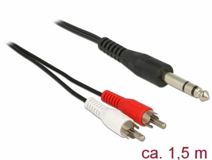 Cablu audio 6.35 mm stereo la 2 x RCA T-T 1.5m, Delock 85475