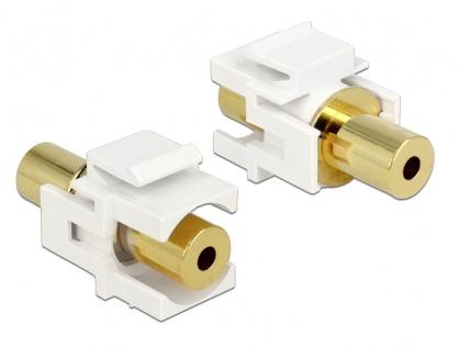 Modul Keystone jack stereo 3.5mm 4 pini M-M Alb, Delock 86363
