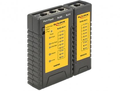 Tester cablu RJ45 / RJ12 + Portfinder, Delock 86407
