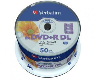 "BLANK DVD+R Verbatim DL 8X 8.5GB 50PK SPINDLE PRINTABLE ""97693"""