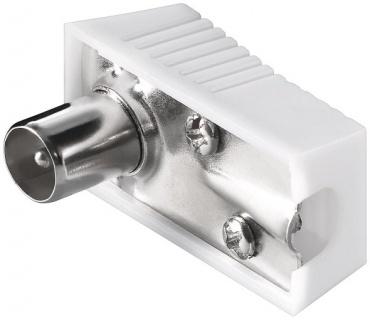 Conector tata unghi 90 grade pentru antena TV (coaxial) alb 75 Ohm, KTKONPM