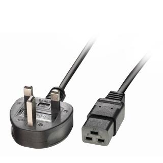 Cablu de alimentare UK 3 pini la IEC C19 2m Negru, Lindy L30459