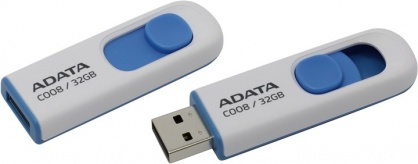 Stick USB 2.0 retractabil C008 32GB Alb/Bleu, ADATA
