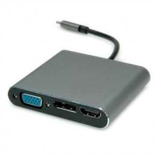 Docking Station USB-C la 4K HDMI, 1 x VGA, 1 x Displayport, 1 x RJ45 Ethernet, Roline 12.02.1116