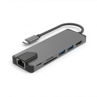 Docking station USB-C 3.1 Gen 2 la 1 x HDMI, 1 x Gigabit LAN, 2 x USB, 1 x SD, 1 x Micro SD slot, 1 x USB-C PD, Roline 12.02.1118