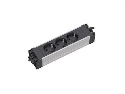 Priza STEP aluminiu cu 3 x Schuko neagra, Bachmann 336.039