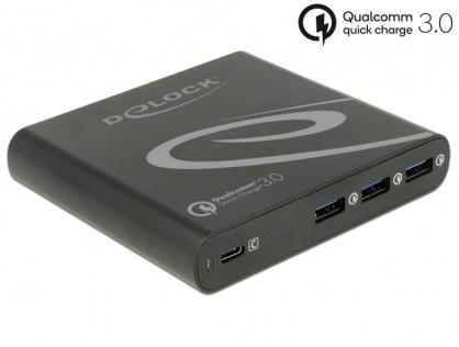 Incarcator priza la 1 x USB-C PD 85 W + 3 x USB-A Qualcomm Quick Charge 3.0 Negru, Delock 41431
