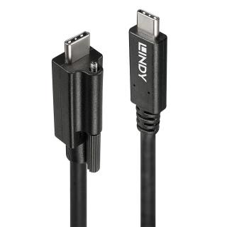 Cablu USB 3.1 tip C cu surub la USB 3.1-C T-T 1m negru, Lindy L41908