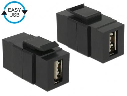 Modul keystone EASY-USB 2.0 A M-M negru, Delock 86368
