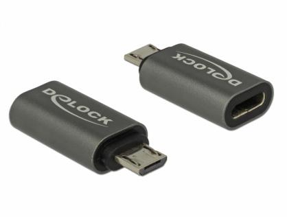 Adaptor micro USB la USB tip C 2.0 M-T Antracit, Delock 65927