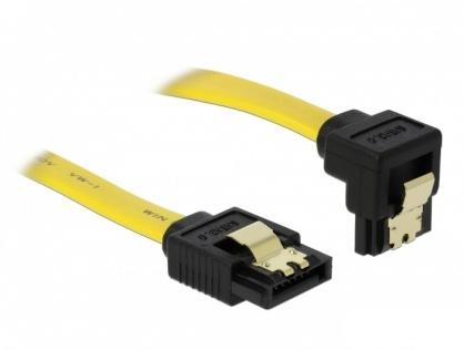 Cablu SATA II 3 Gb/s unghi jos/drept cu fixare, 0.5M, Delock 82479