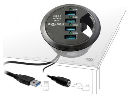 In-Desk Hub 4 Port USB 3.0, Delock 61989