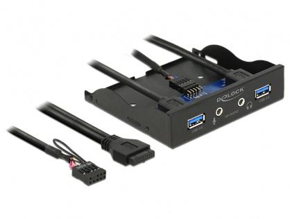 """Front Panel 3.5"""" la 2 x USB 3.0 + HD-Audio, Delock 62700"""