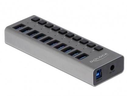 HUB cu 10 porturi USB 3.0 + switch ON/OFF Negru, Delock 63976