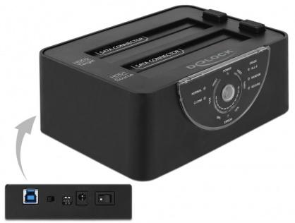 Docking Station Dual USB 3.0 pentru 2 x SATA HDD/SSD functie de Clona/Erase metalic, Delock 63992