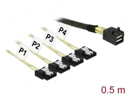 Cablu Mini SAS HD SFF-8643 > 4 x SATA 7 Pin 0.5 m, Delock 83392