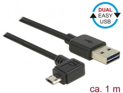 Cablu EASY-USB 2.0-A la EASY-Micro USB 2.0 unghi T-T stanga/dreapta 1m, Delock 83846