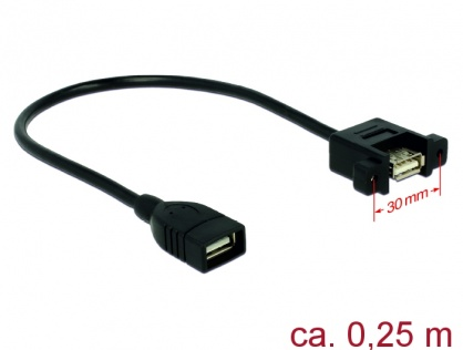 Cablu USB 2.0-A la USB 2.0-A panel mount 0.25m M-M, Delock 85105