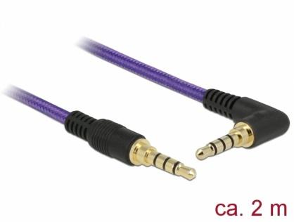 Cablu stereo jack 3.5mm 4 pini (pentru smartphone cu husa) unghi Mov T-T 2m, Delock 85614