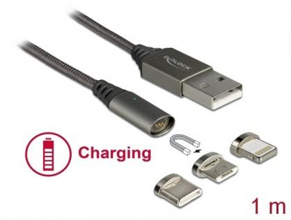 Cablu de incarcare magnetic USB la iPhone Lightning 8 pini / Micro USB / USB- C antracit 1m, Delock 85705