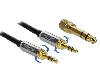 Cablu jack stereo 3.5mm 3 pini T-T + adaptor cu surub 6.35 mm 0.5m, Delock 85784